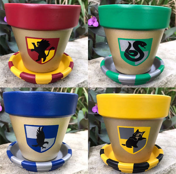 Geek Planter Ideas -- Home and Family -- Harry Potter Painted Pots --- We Do Geek