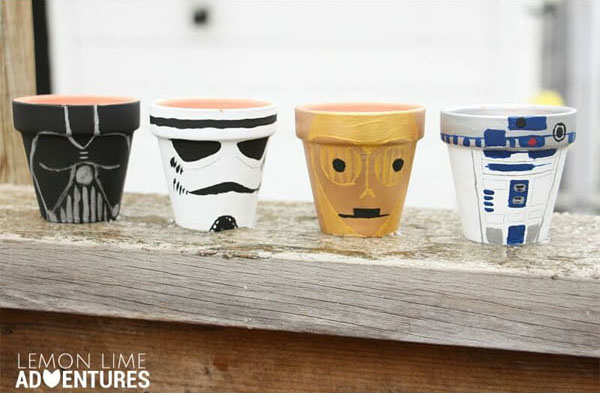 Geek Planter Ideas -- Home and Family -- Star Wars Painted Pots --- We Do Geek